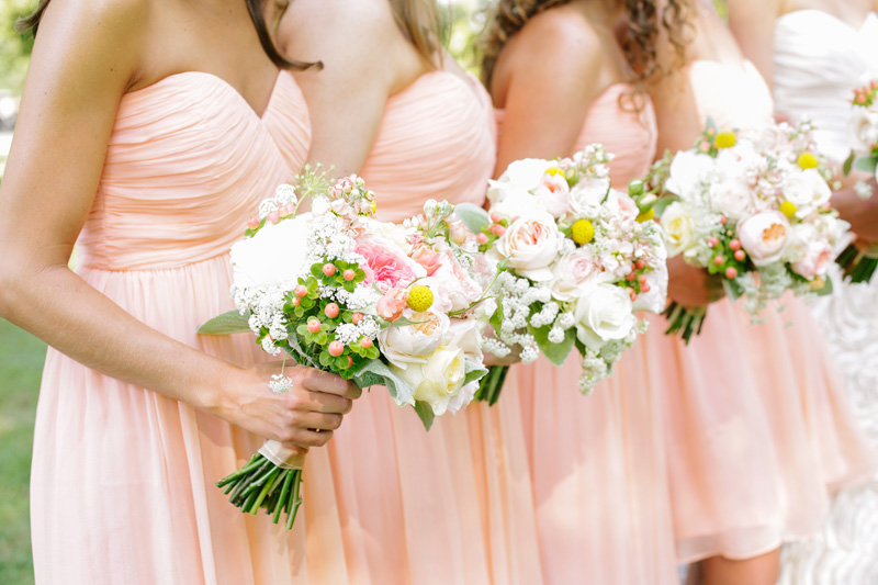 peach bridesmaids dresses from a Southern Wedding | photo by  www.annabellacharles.com