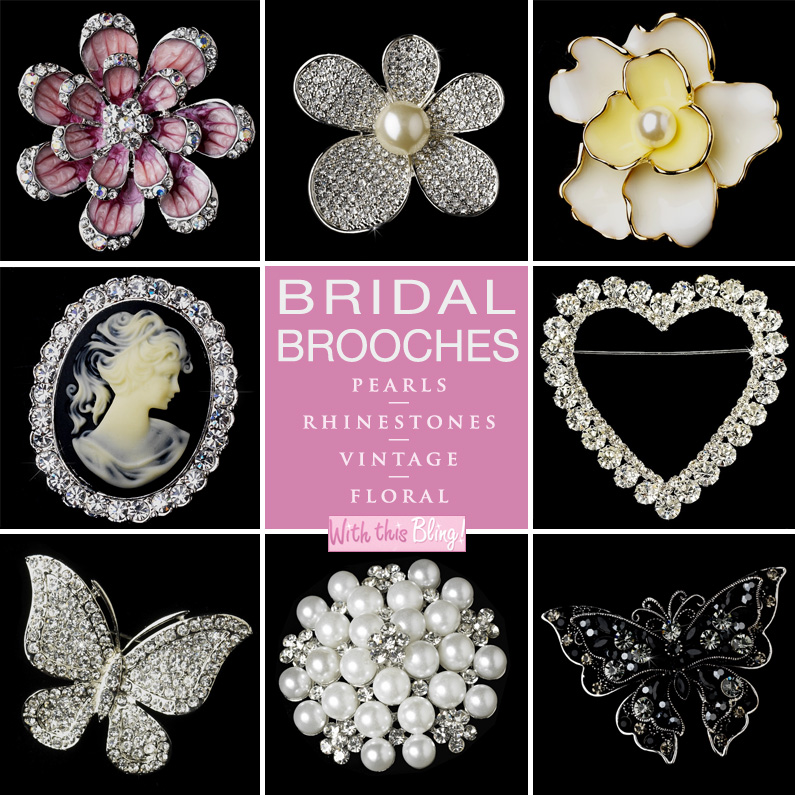 Fancy Bridal Brooches : perfect for your dress, wrapped stems of your bouquet, your hair, and even as cake decor