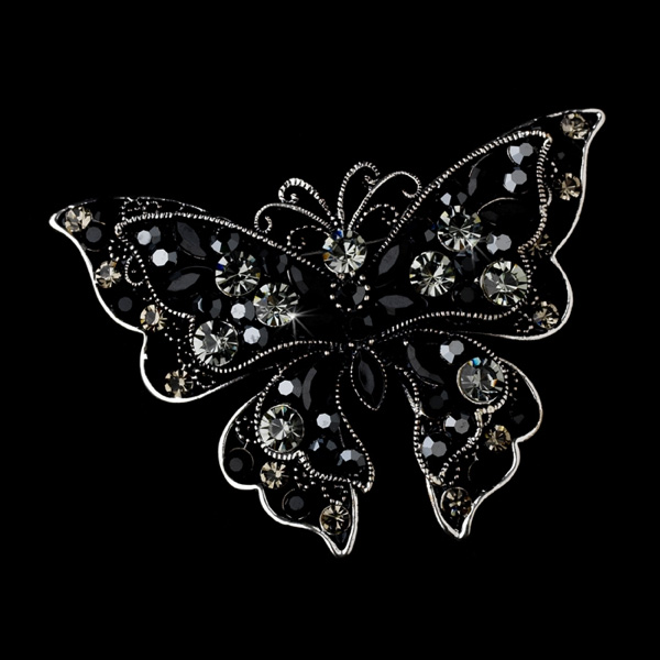 Rhodium Black & Clear Crystal Butterfly Bridal Brooch