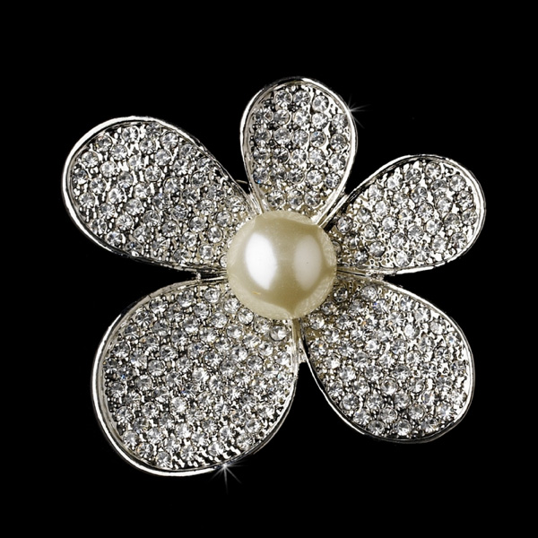 Rhinestone Encrusted Flower Bridal Brooch with Pearl Center