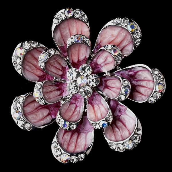 Sparkling Pink & Silver Flower Brooch