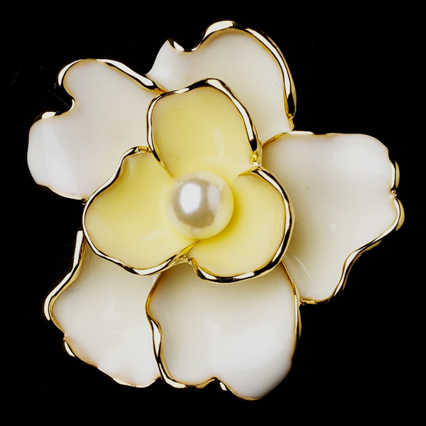 Gold & Yellow Flower Bridal Brooch