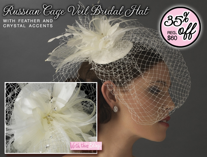 Russian Cage Veil Bridal Hat {with feathers and crystal accents}. Currently 35% off the regular price of $60. You pay ONLY $38.99.