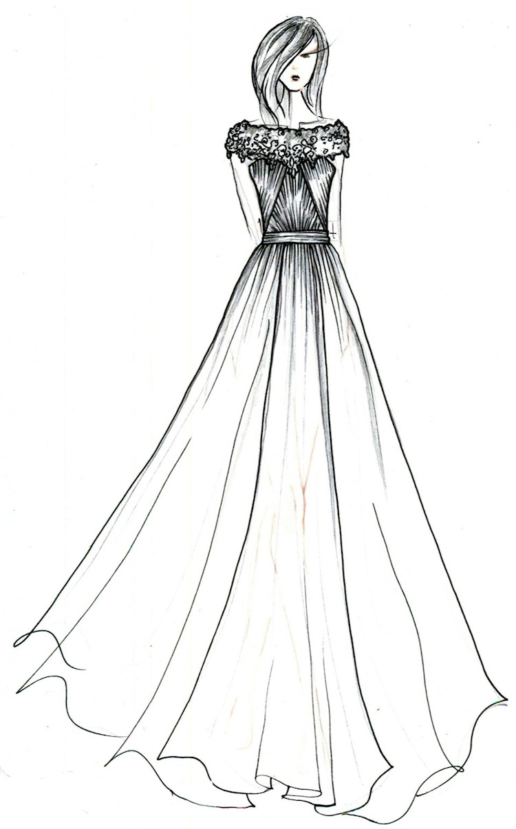 anne barge fall 2014 black label wedding gown collection sketch