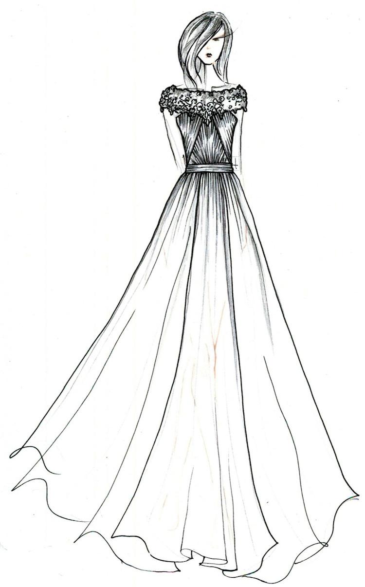 The Gallery For --u0026gt; A Line Wedding Dress Sketch
