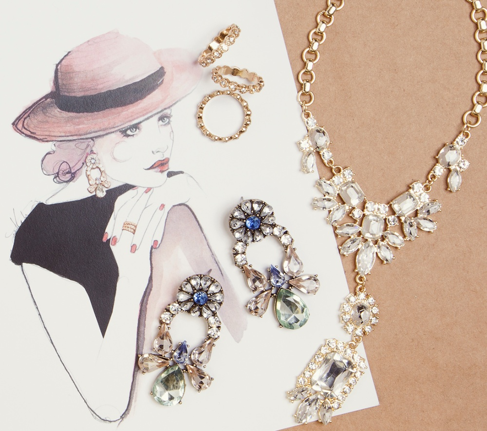 Watercolor Fashion Sketch from Katie Rodgers of Paper Fashion with jewelry by Bauble Bar