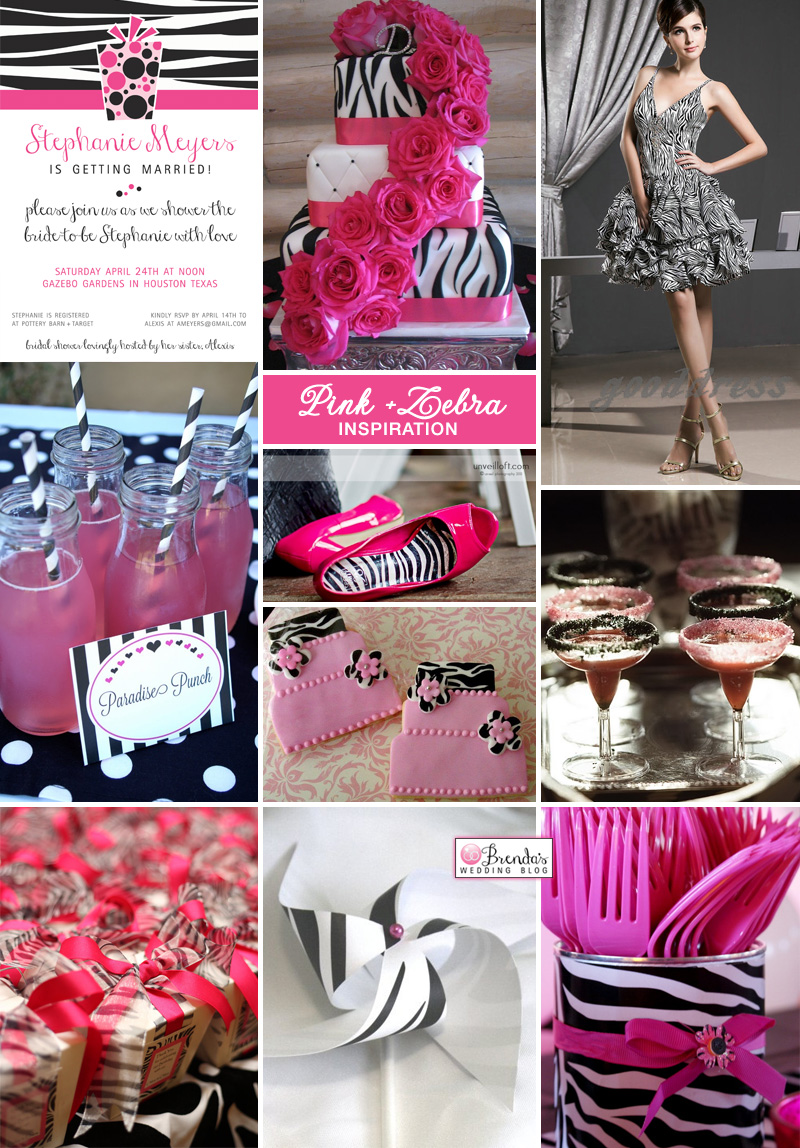 Pink zebra bridal shower inspiration board #bridalshowers #zebra #hotpink