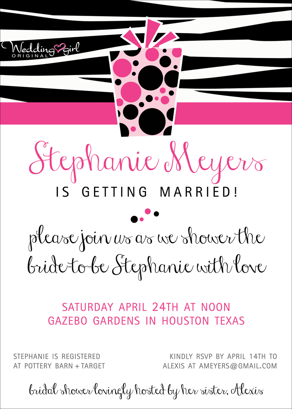 pink zebra bridal shower invitation | from www.etsy.com/shop/WeddingGirl