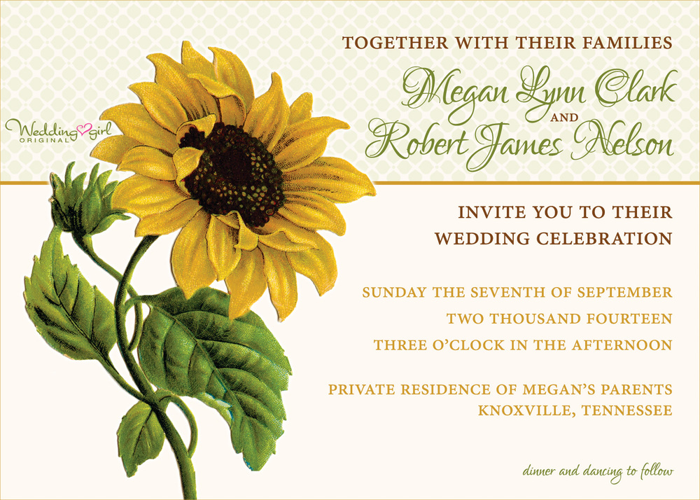 a vintage sunflower wedding invitation is unveiled