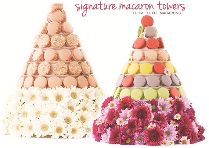 Signature #Macaron #Towers with a Floral Bottom to Match your #Wedding Flowers | from 'Lette Macarons