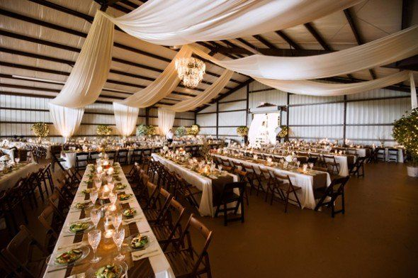 Absolutely Beautiful . . . White Draped Ceiling for a Barn Wedding