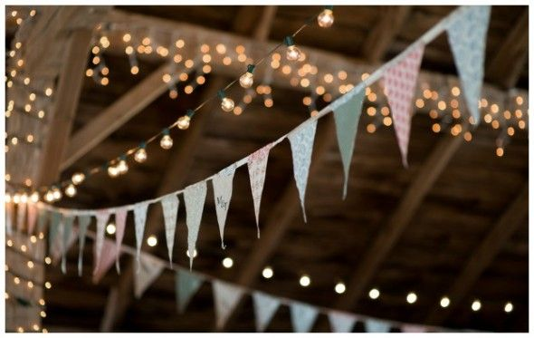 Twinkling Lights and Bunting for a Barn Wedding