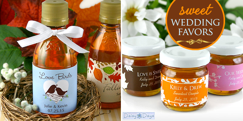 sweet wedding favors maple syrup bottles and honey jars