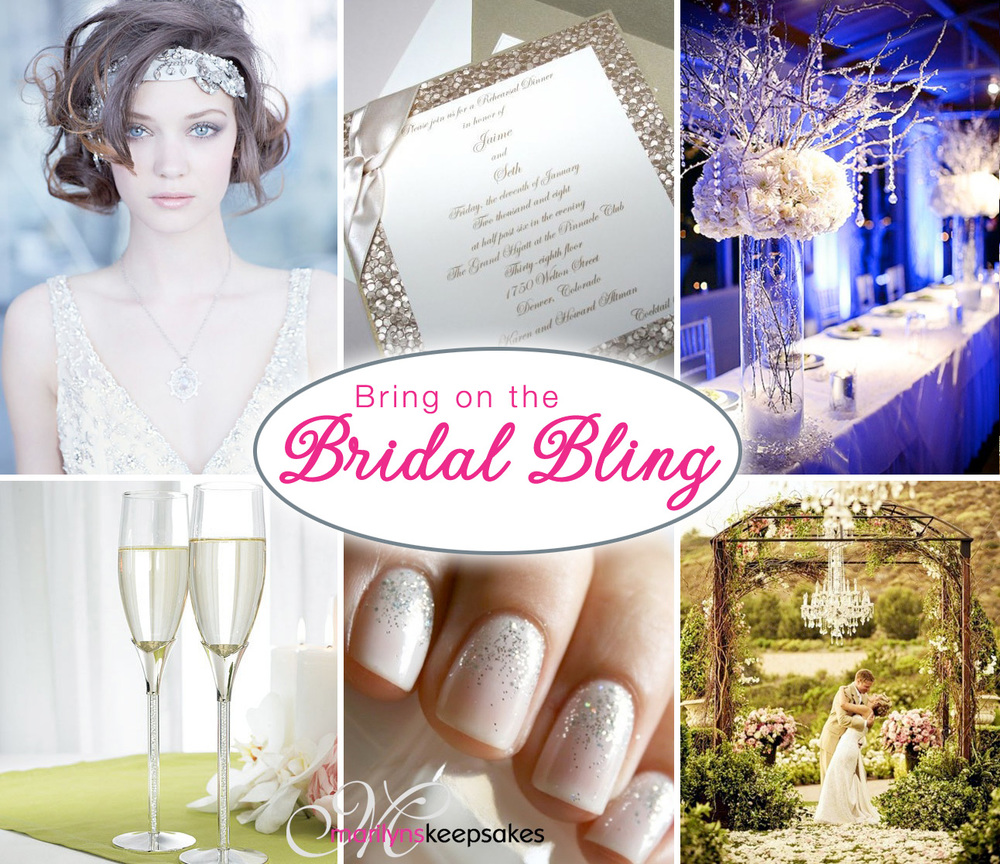 Bring on the Bridal Bling Inspiration Board Credits: Lazaro Wedding Dress, Glitter Invitations, Crystal Wedding Centerpieces, Crystal Champagne Flutes, Glitter Bridal Nails, Outdoor Wedding Chandeliers