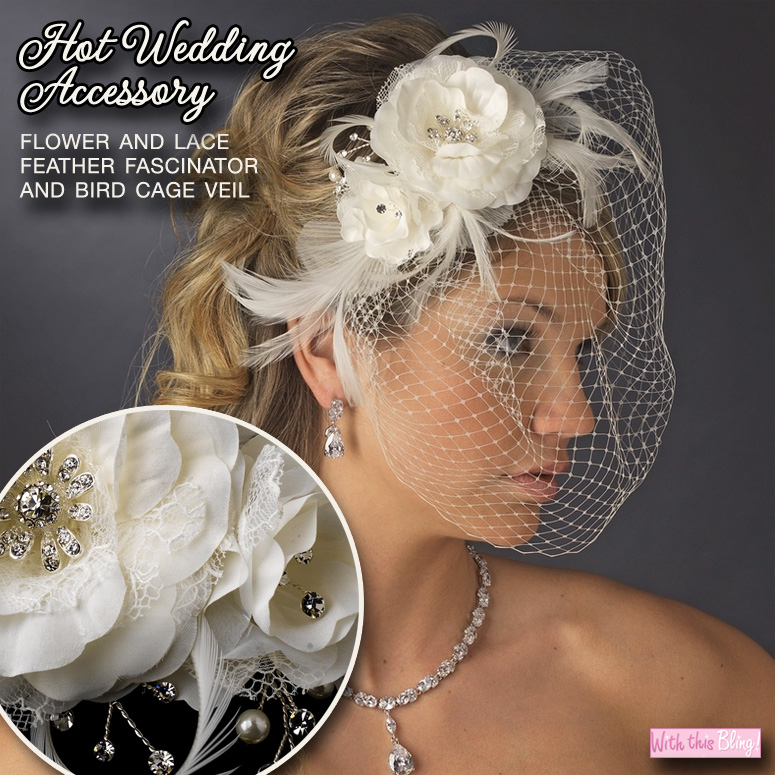 Hot #Wedding #Accessory : Flower and Lace #Feather #Fascinator and Bird Cage Veil