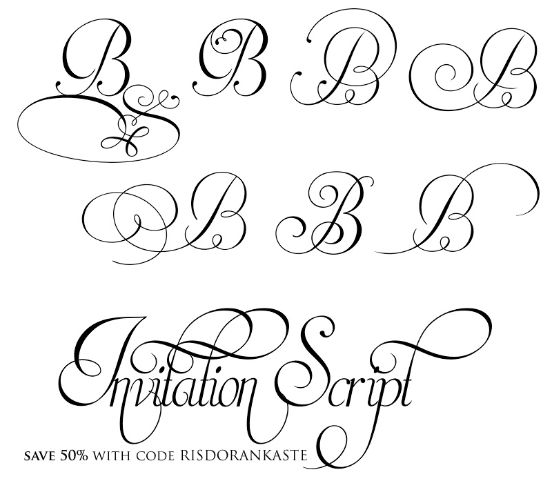 Invitation Script Font at 50% off with code RISDORANKASTE at http://www.myfonts.com/fonts/intellecta/invitation-script/?refby=bwb