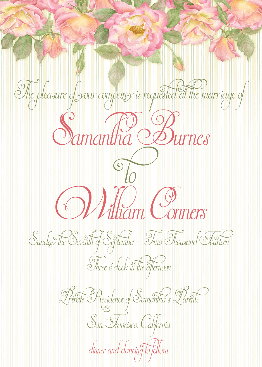 Garden Roses Wedding Invitation