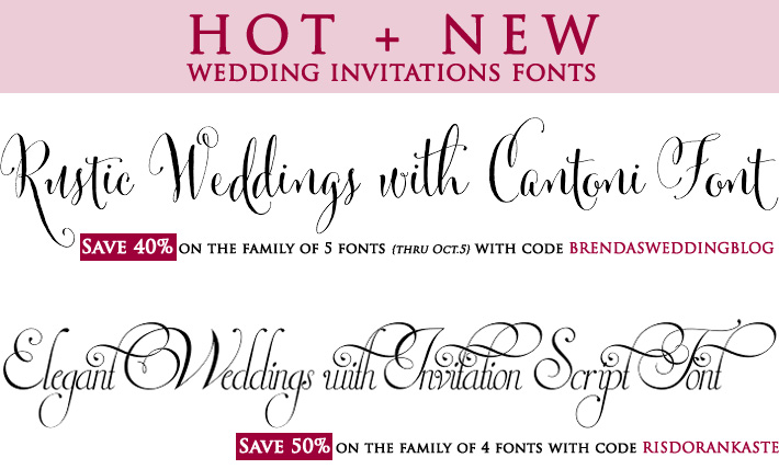 Wedding Fonts with coupon codes to save money : perfect for rustic and elegant weddings
