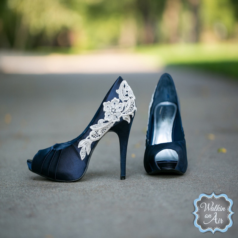 Navy blue satin peep-toe #weddingheels embellished with an ivory venise lace applique