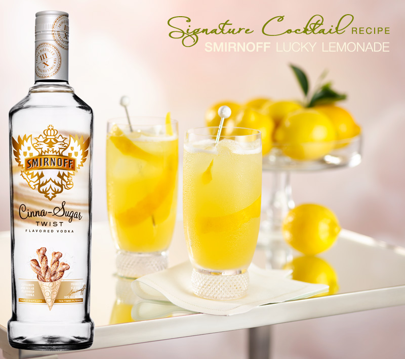 smirnoff Lucky Lemonade signature cocktail with cinna-sugar twist flavored vodka