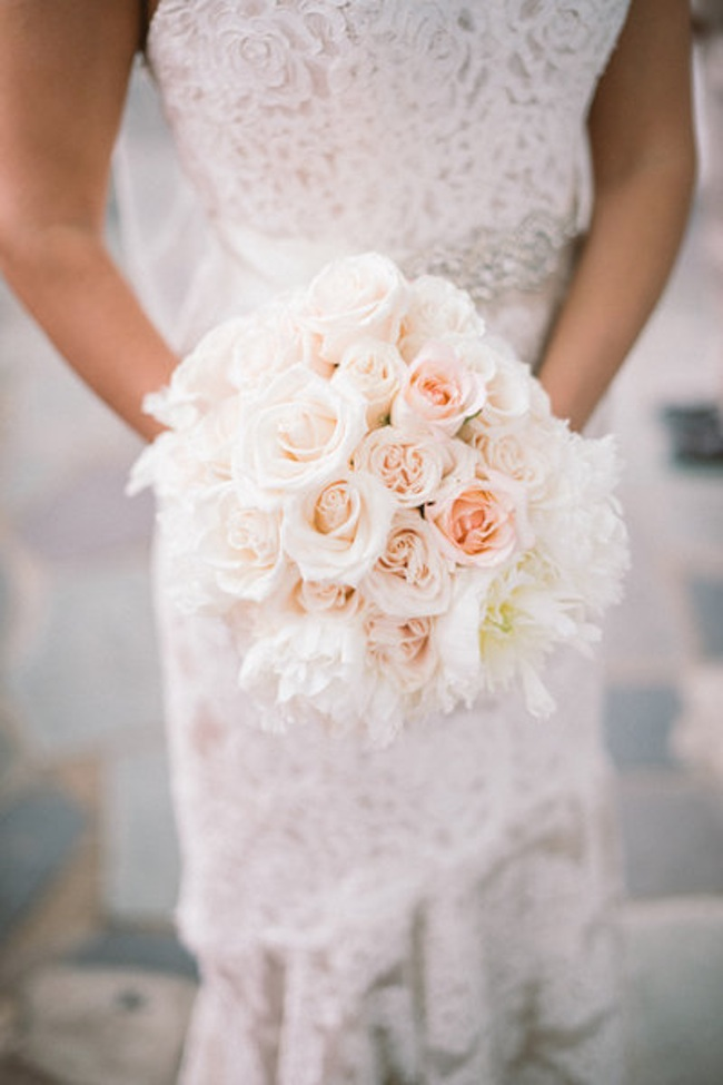 Blush Wedding Bouquet with Ranunculus, Garden Roses and Peonies | by Eight Tree Street | photo by Sam Stroud Photo