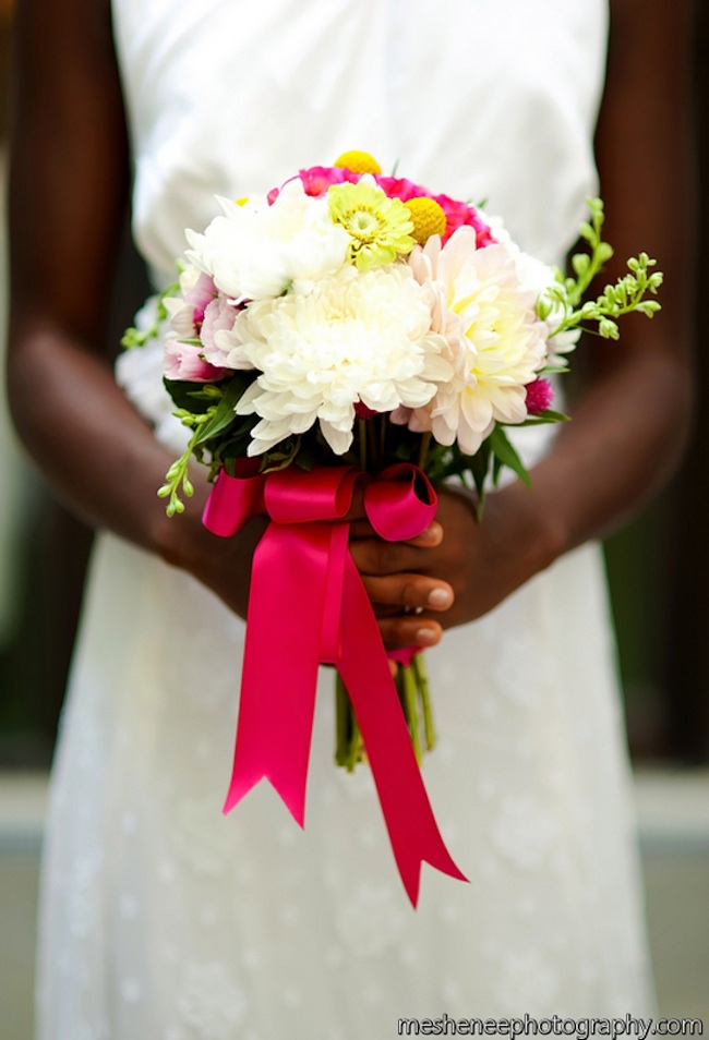 Hot Pink Wedding Bouquet with Dahlias, Larkspur, Zinnias, Craspedia and Godetia | by Eight Tree Street | photo by MeShenee Photography