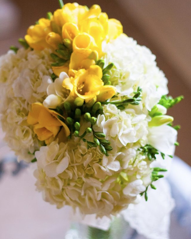 Yellow and White Freesia Wedding Bouquet | by Eight Tree Street | photo by Teresa Wood Photography