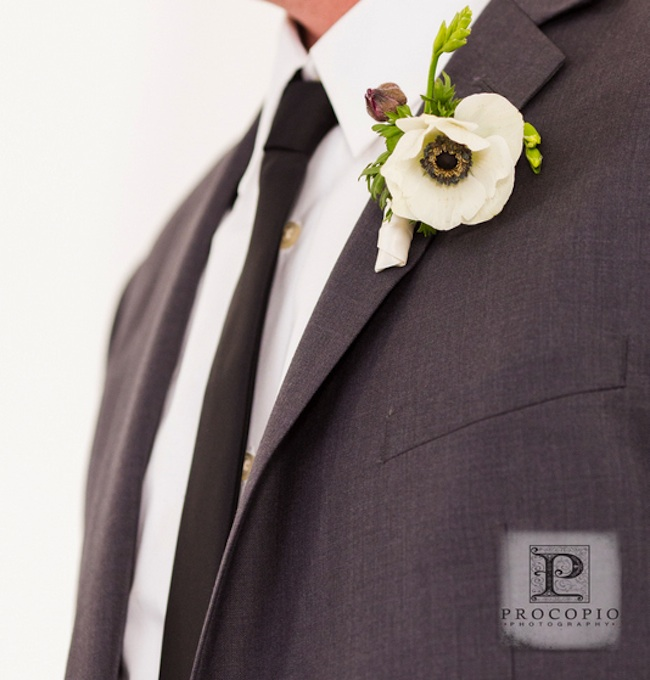 Anemone Boutonniere | photo by Procopio Photography