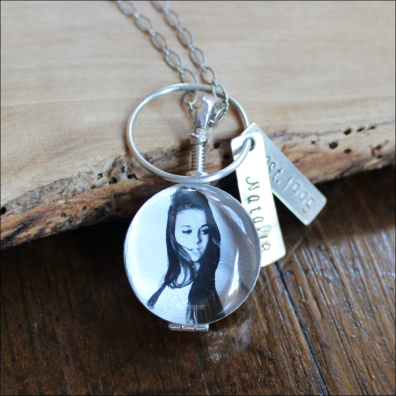 personalized antique glass picture locket