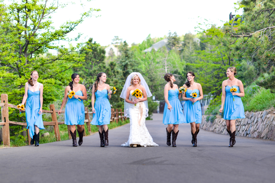 Wedding Party and Bride in Boots | Cheyenne Mountain Zoo wedding | photo by Trystan Photography