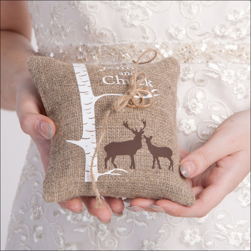 rustic wedding burlap ring bearer pillow