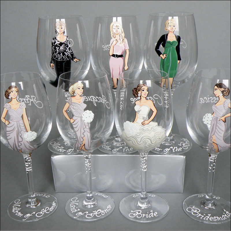 custom painted and personalized wine glasses