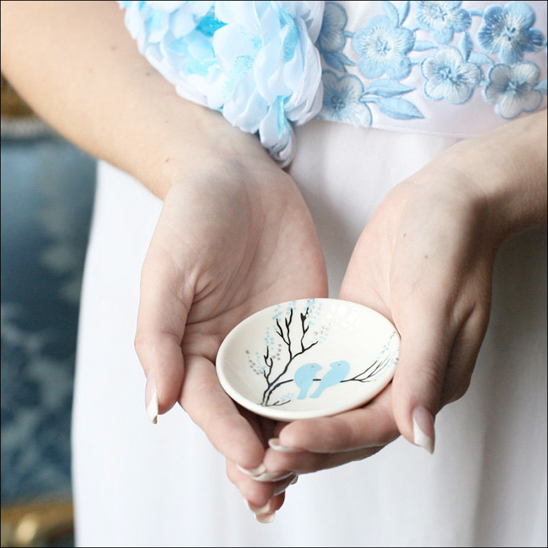 hand painted ring bearer bowl