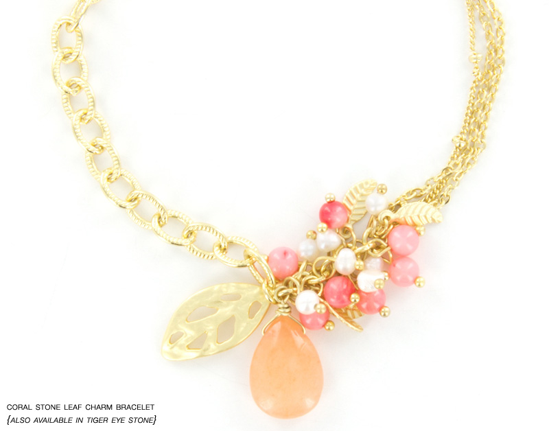 Coral Stone Leaf Charm Bracelet from InPink Fashion Jewelry : GIANT Giveaway on the blog {win up to $50 in free jewelry}
