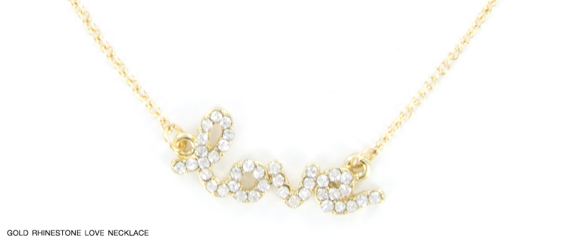 Gold Rhinestone Love Necklace from InPink Fashion Jewelry : GIANT Giveaway on the blog {win up to $50 in free jewelry}