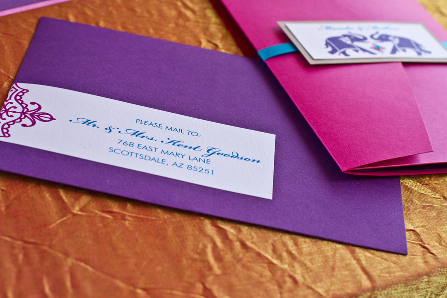 pretty pink and purple #Indian #fusion wedding invitations | photo by Dreamcicle Studios | stationery by Be In Love Designs