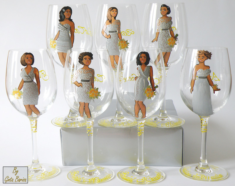 Personalized Wine Glasses for Bridesmaids - painted to their likeness