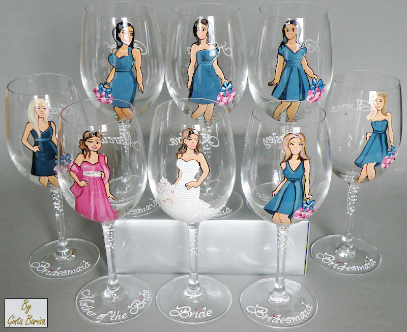Personalized Wine and Champagne Glasses for Bridesmaids - painted to their likeness