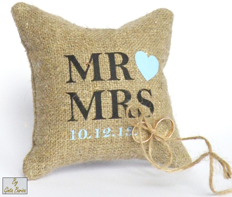 Handmade Burlap Linen Ring Bearer Pillow #personalized #weddings #rustic