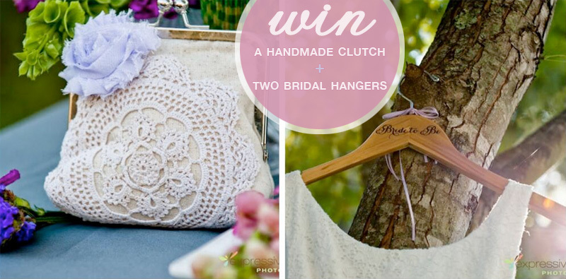 Enter to Win a beautiful handmade clutch and two bridal hangers from In Flight Celebrations