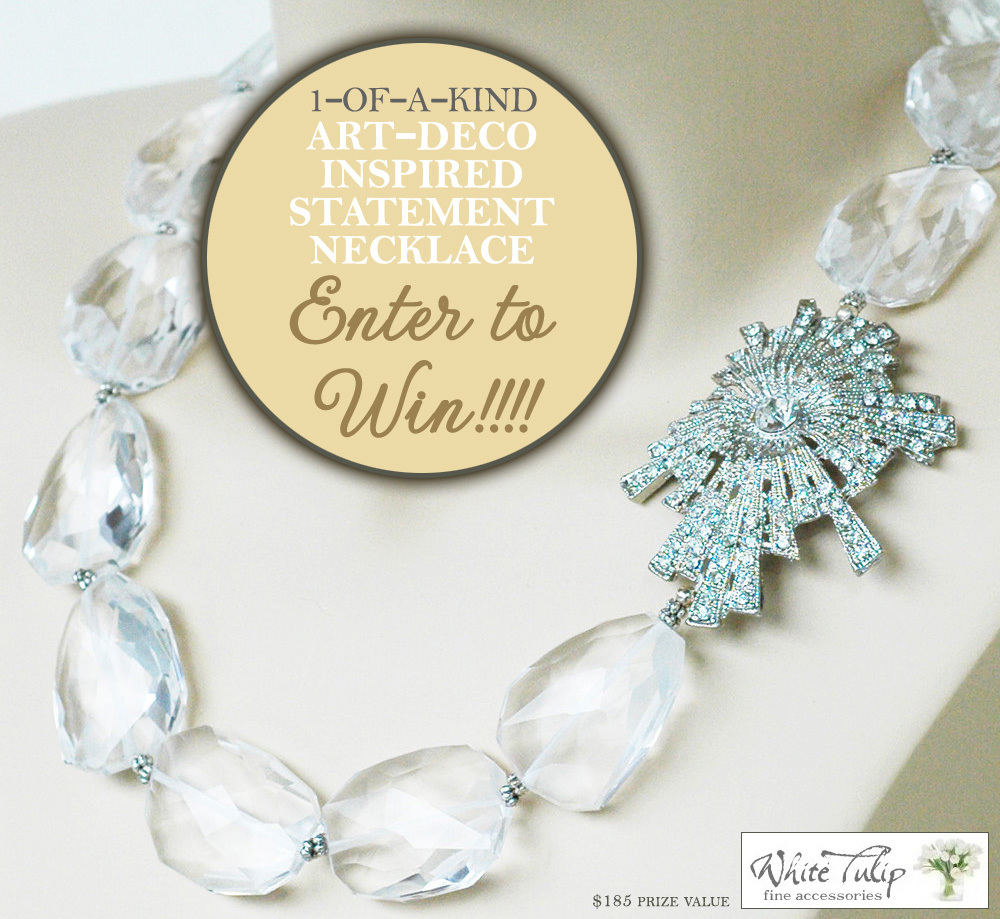 This gorgeous one-of-a-kind art deco inspired statement necklace could be yours. Enter today to Win! $185 prize value