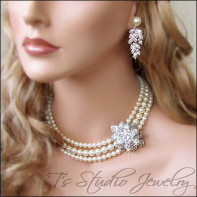 Gorgeous Custom #Handmade #Bridal #Jewelry - Pearl Bridal Choker #Necklace with Offset #Rhinestone Crystal #Brooch |  from T's Studio Jewelry