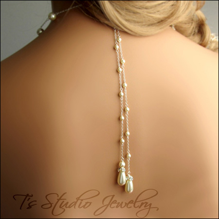 Back Drop Pearl #Bridal #Necklace - Teardrop #Pearl #Wedding #Jewelry | from T's Studio Jewelry