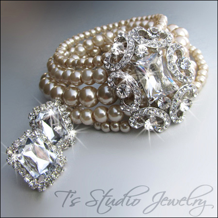 Multi Strand #Pearl #Vintage Theme #Bridal #Cuff #Bracelet | from T's Studio Jewelry