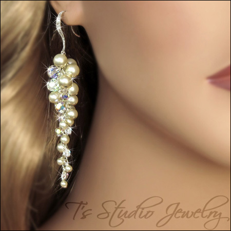Long Dangling #Pearl Cluster #Bridal #Earrings - #Beach Theme Wedding | from T's Studio Jewelry