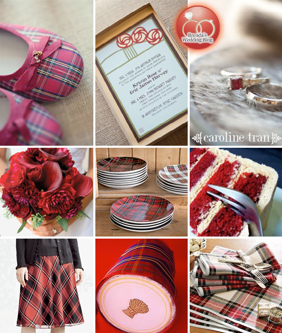 Tartan #Red #Plaid #Inspiration Board for #Winter #Weddings
