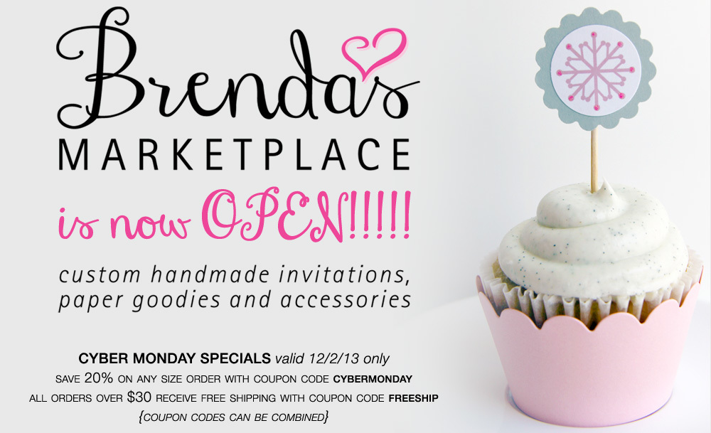 Brenda's Marketplace is Now Open! #Custom #Handmade #Invitations, Paper Goodies and Accessories