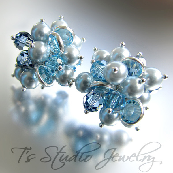 Pearl and Blue Crystal Stud Cluster Earrings from T's Studio Jewelry