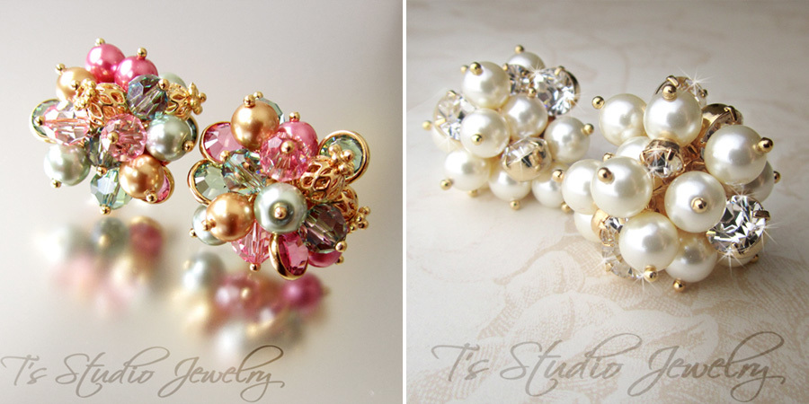 Colored Pearls and Crystal Stud Earrings from T's Studio Jewelry