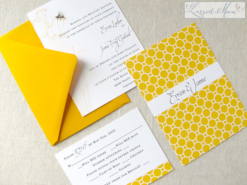 Honey bee themed wedding invitation | by Lasso'd Moon